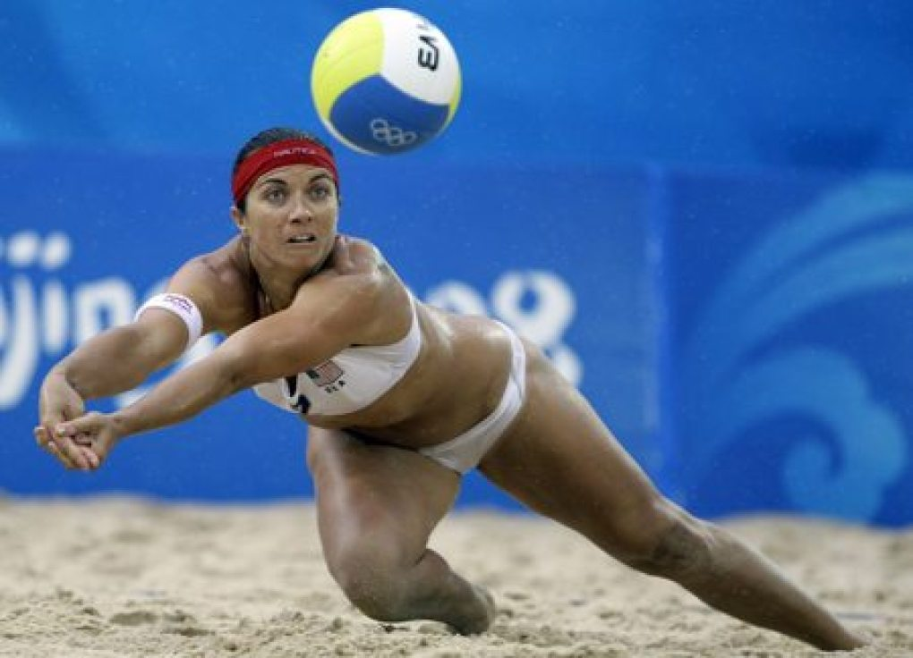 Misty May playing volleyball at the Olympics