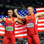 American athletes celebrating at the Olympics
