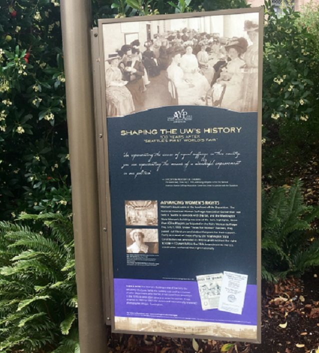 UW campus sign explain women in history