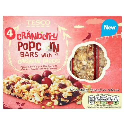 tesco cranberry pocorn bars