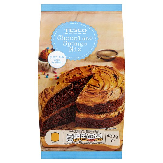 Tesco Chocolate Sponge Cake Mix 400g My Vegan Supermarket