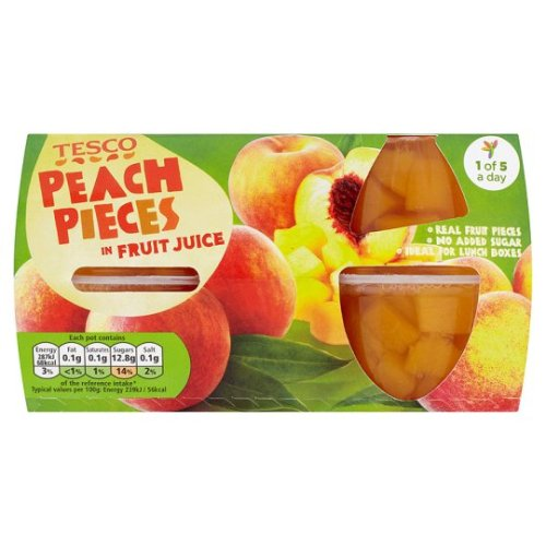 Tesco Peach Pieces Juice Fruit Pots4x120g