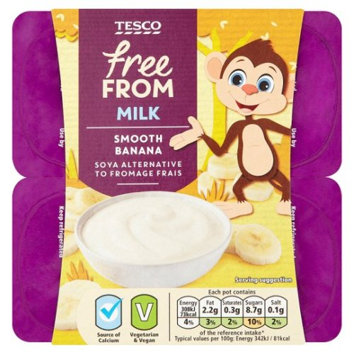 Tesco Free From Banana Soya Fromage Frais 4X90g