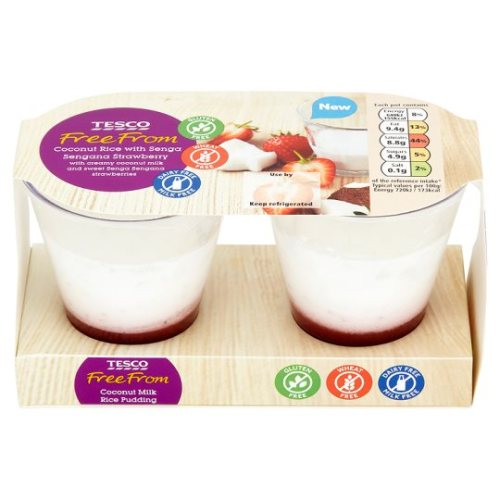 Tesco Free From Dairy Free Strawberry Rice Pudding 180G