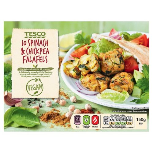 Tesco 10 Spinach And Chickpea Falafel 150G