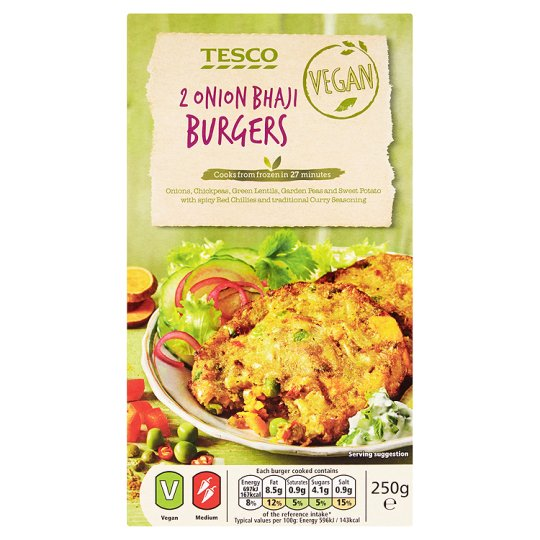 Tesco Onion Bhaji Burger 250g My Vegan Supermarket