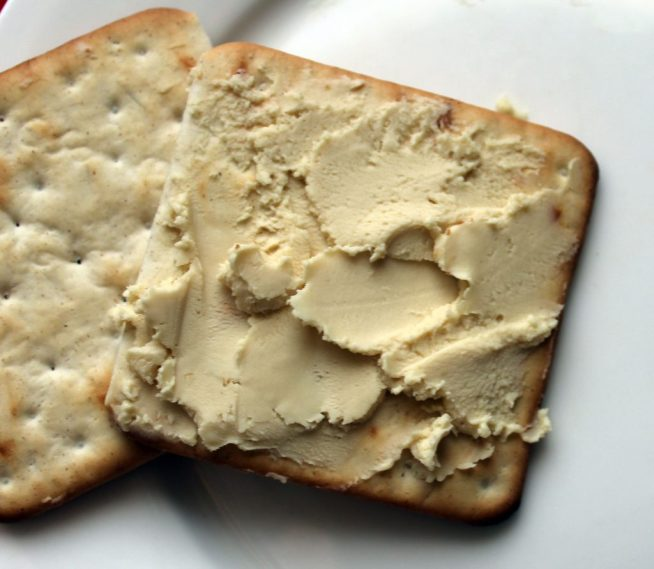 cracker with vegan cheese spread