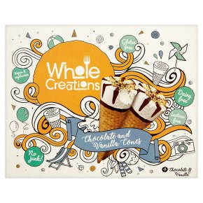 Whole Creations Chocolate and Vanilla Cones 4x120ml