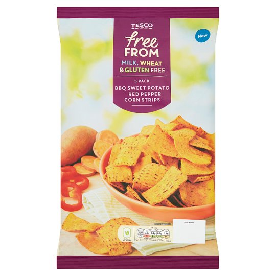 Tesco Free From Sweet Potato And Red Pepper Corn Chips 5x30g
