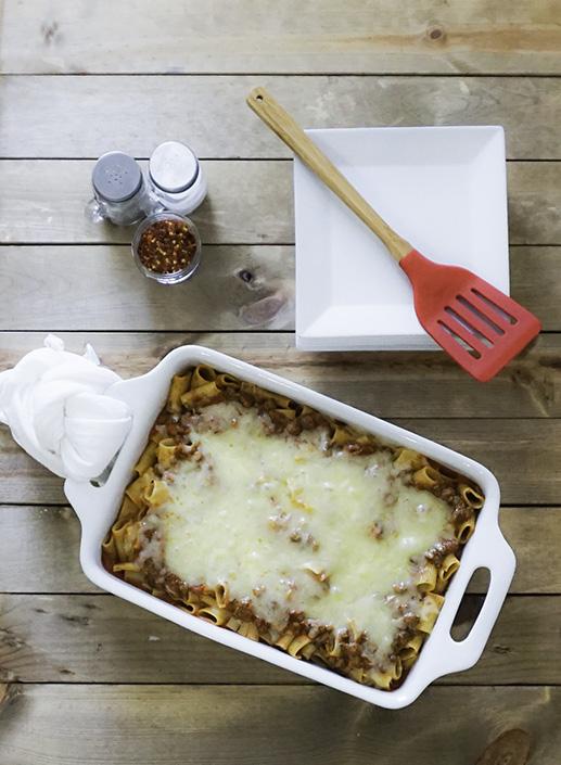 Vegetarian Pasta Bake with Marinara Sauce Plant Based Protein Crumbles Fresh Shredded Mozzerella Cheese Baked to Perfection #myvegetarianfamily