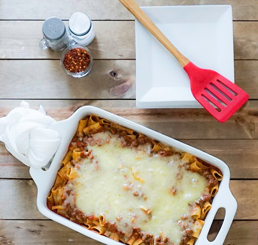 Vegetarian Pasta Bake with Marinara Sauce Plant Based Protein Crumbles Fresh Shredded Mozzerella Cheese Baked to Perfection #myvegetarianfamily