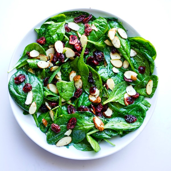 Spinach Cranberry Salad with Poppy Seed Dressing