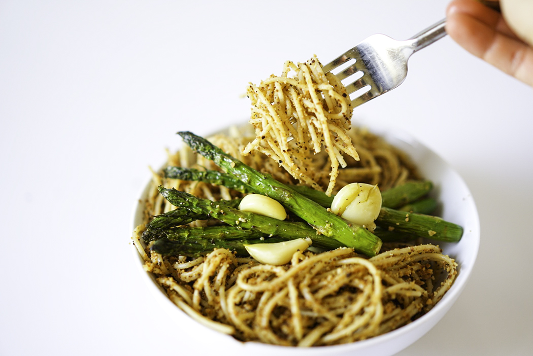 Vegan Breadcrumb pasta with Roasted Asparagus