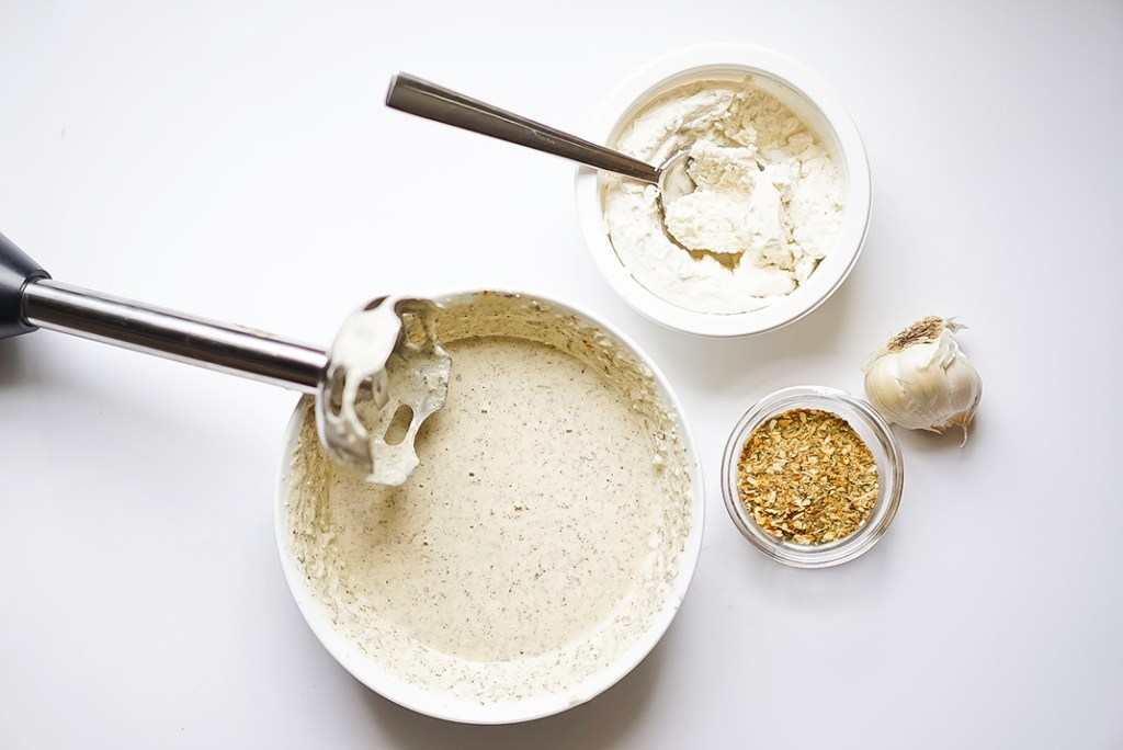 Vegan Ricotta with Roasted Garlic Cream Sauce