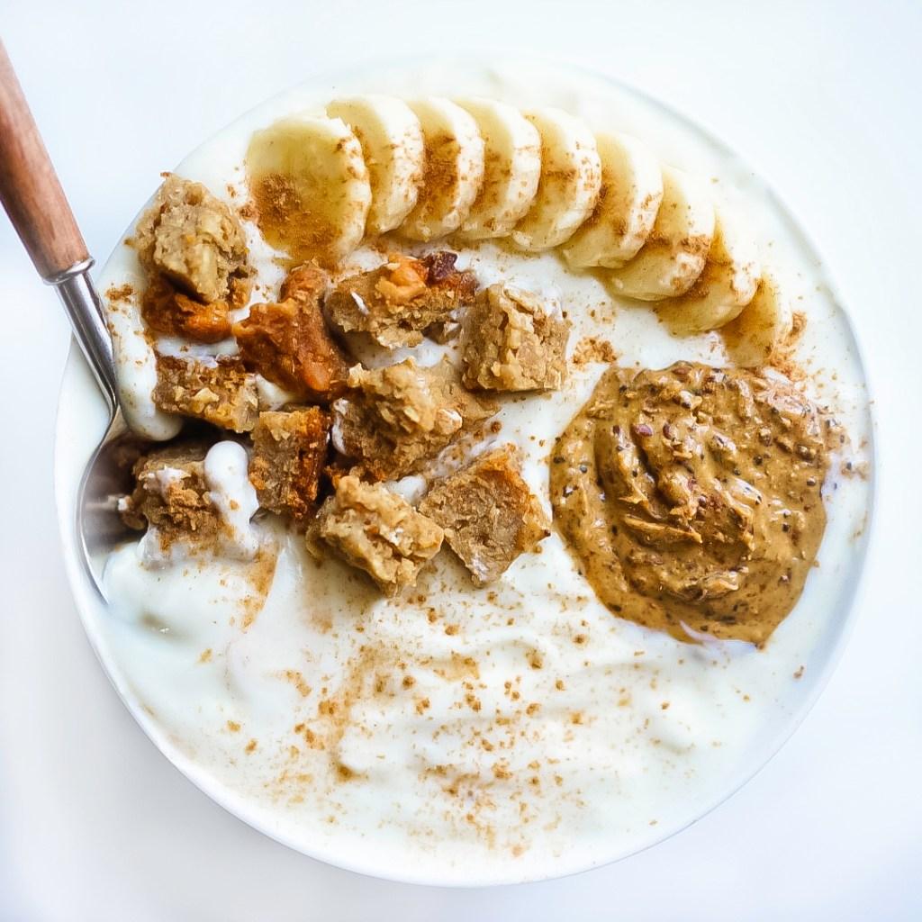 Peanut Butter Banana Bread Breakfast Bowl #myvegetarianfamily