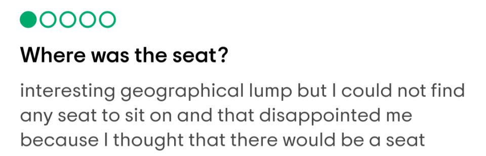 no seat arthurs seat