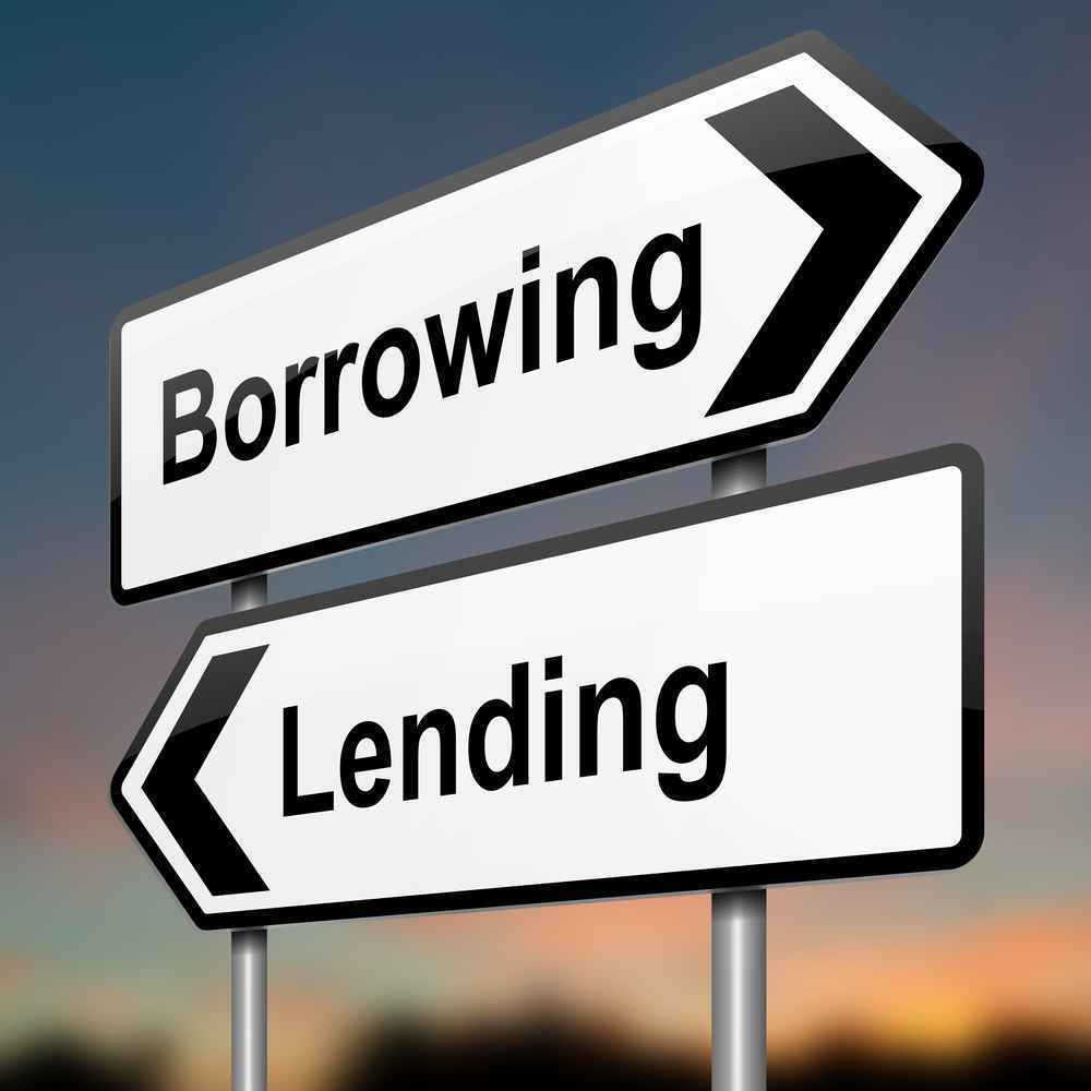 borrowing and lending signs.