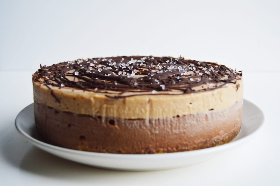 Vegan Chocolate Salted Caramel Cheesecake