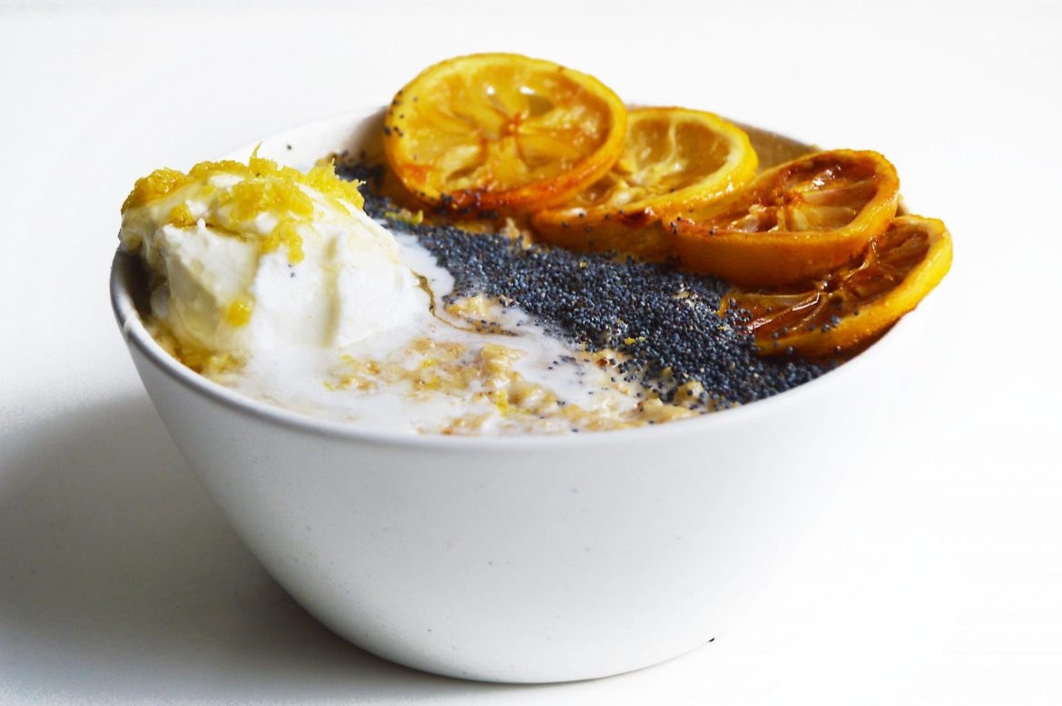 Vegan Lemon Coconut & Poppy Seed Porridge Breakfast Bowl