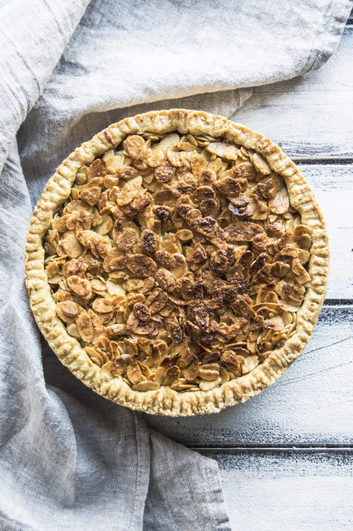 Vegan Pear Custard Pie With Caramelized Almond Crust