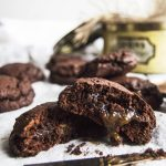 Vegan Salted Caramel Stuffed Chocolate Fudge Cookies