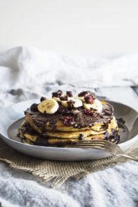 Vegan Banana Pancakes With Chocolate Hazelnut Cream