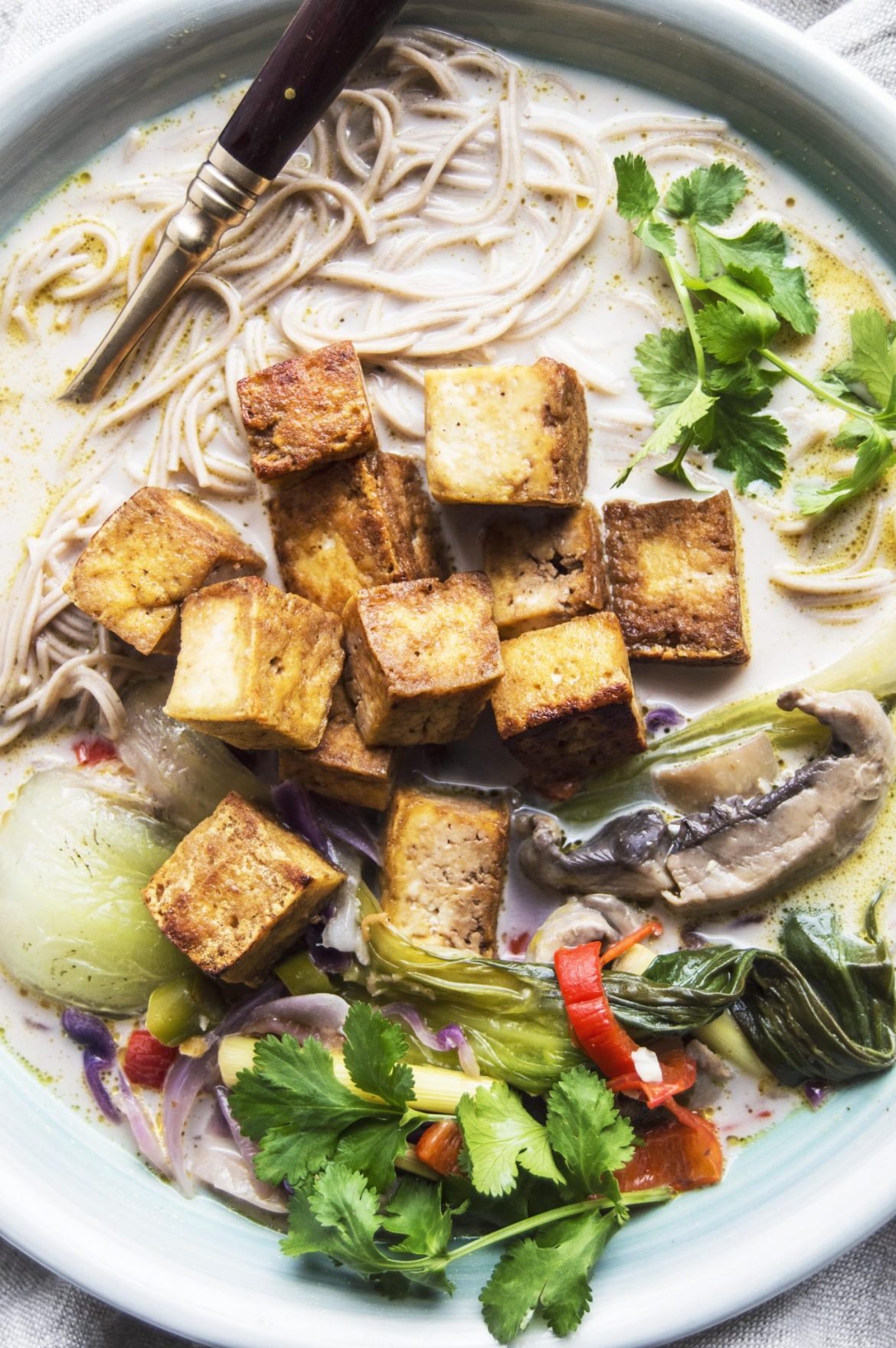 Spicy Lemongrass Infused Ginger Coconut Soup With Crispy Tofu