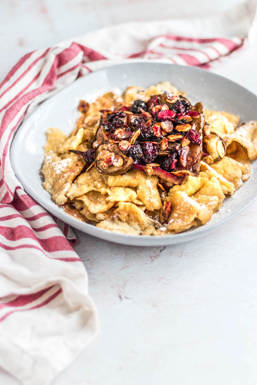 Vegan Kaiserschmarrn: Austrian Torn Pancakes With Baked Pears & Blackberries