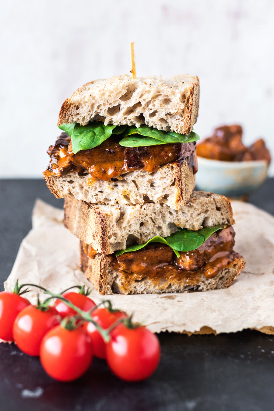 Vegan Buffalo Tofu Chicken Sandwich