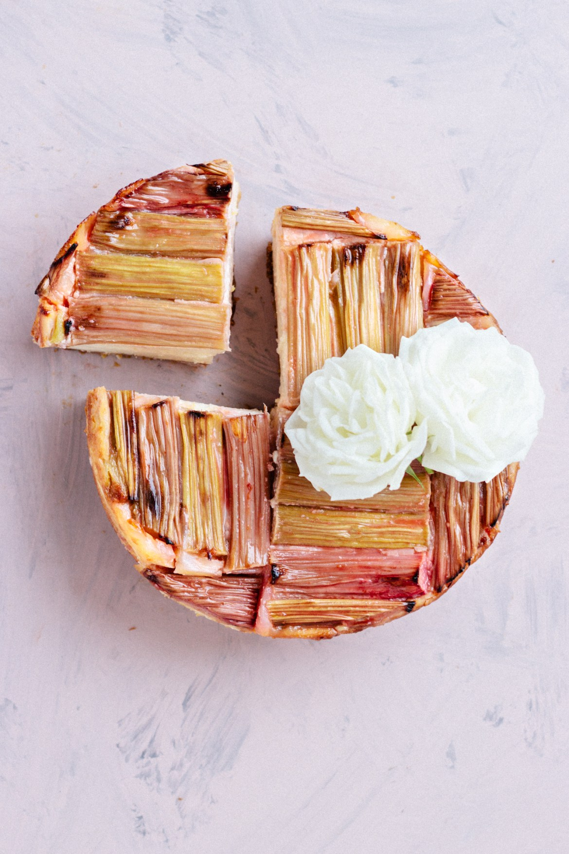 Vegan Baked Rhubarb Cheesecake (nut free & high in protein)