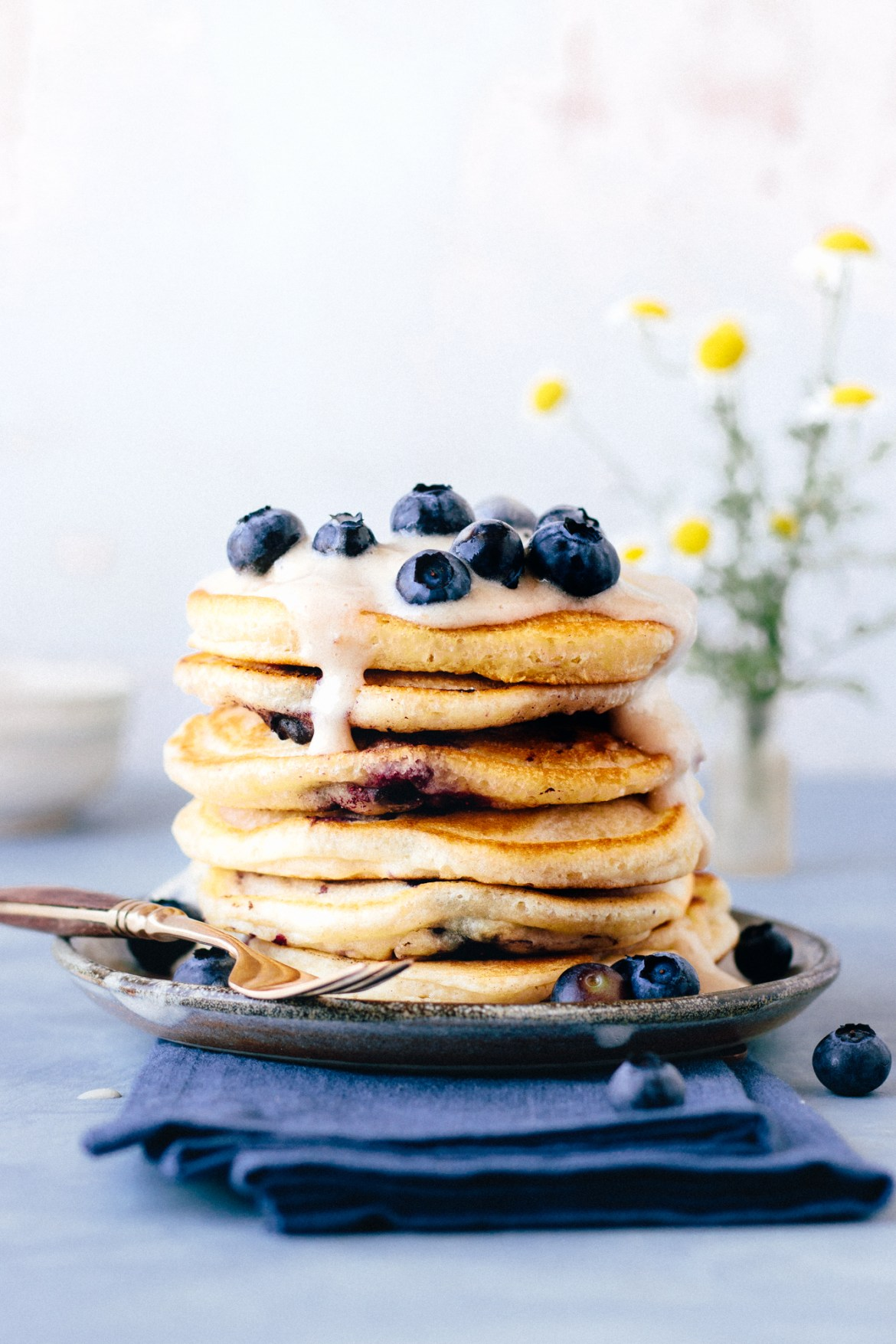 Vegan Fluffy Blueberry Pancakes With Banana Ice Cream