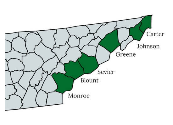 Tennessee counties with low property rates