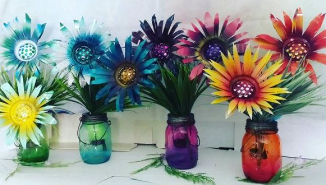 Flowers in the crafted jars
