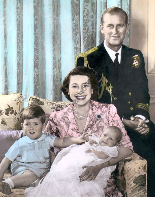 Queen Elizabeth II, Duke of Edinburgh Phillip, Prince Charles & Princess Anne 1950
