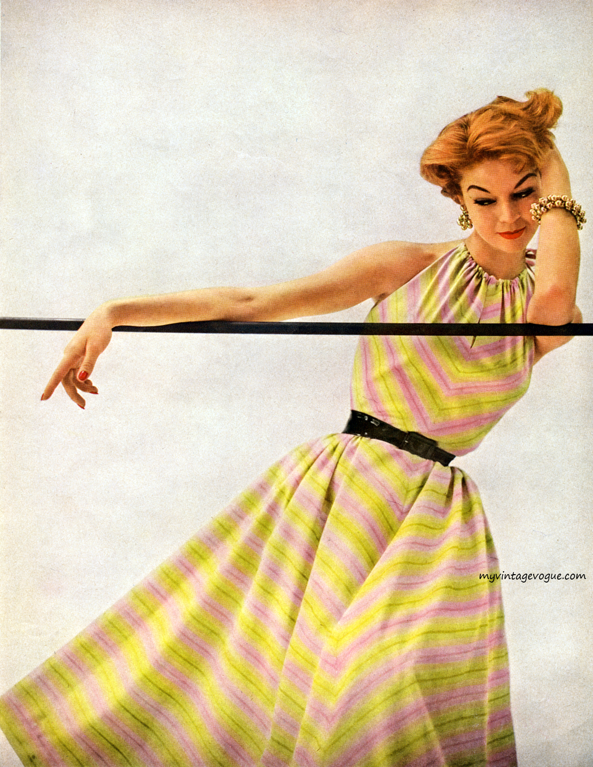 Jean Patchett photographed in a halter dress for Simplicity Pattern Book