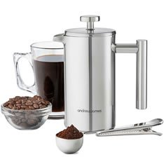 Andrew James 350ml Double Walled Stainless Steel Cafetiere Gift Set