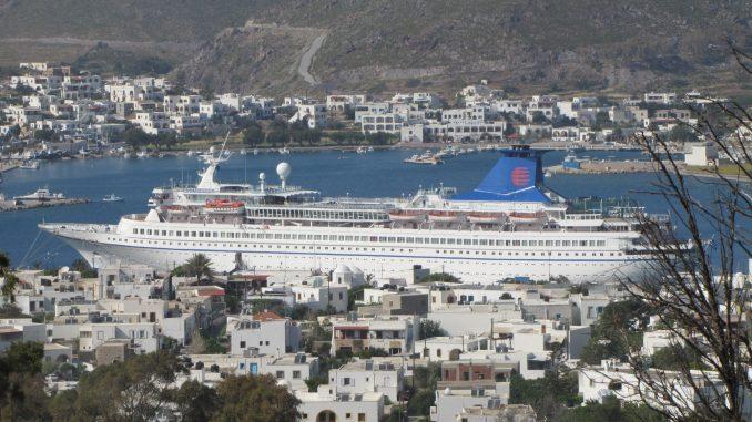 Cruise ship docked in Patmos