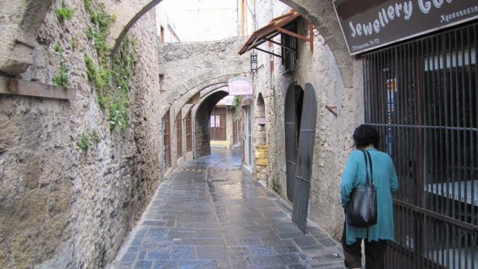 Very narrow streets in Rhodes
