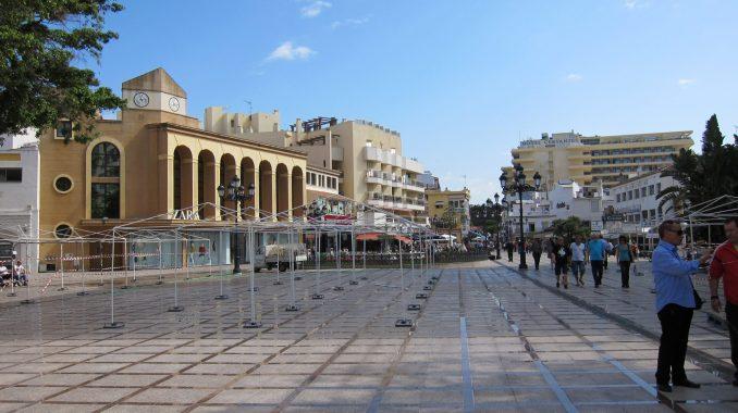 Open square in Malaga Spain