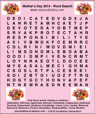 Mother's Day vocabulary games, Mother's Day vocabulary ...