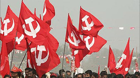Communists, leftists, CPM, flags