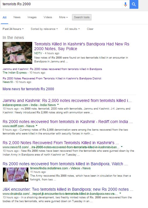Google News search results for terrorists with new 2000 rupees notes