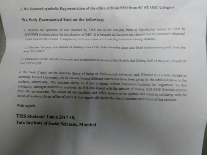 charter of demand by TISS student union - 4
