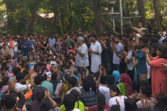 a protest at TISS