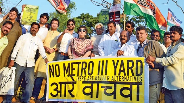 Protest against Mumbai Metro car shed at Aarey