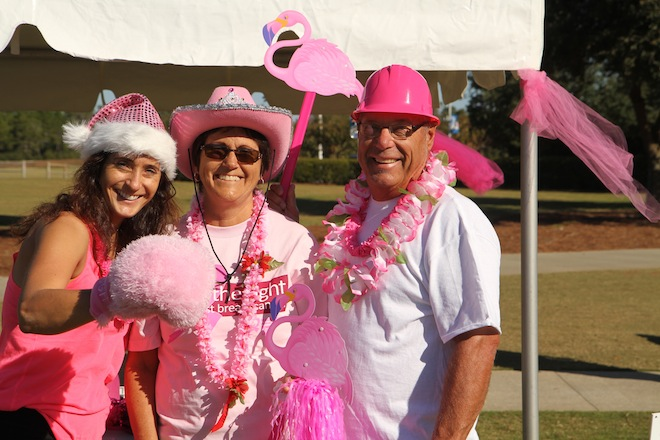 Shanra Kehl (from left) and her parents, Patricia and Dean Kehl, are seen at a cancer walk at Panama City Beach, Fla., in 2014. Patricia Kehl's death in May prompted Shanra Kehl, a 1995 East Troy High School graduate, to raise awareness of triple negative breast cancer. (Submitted photo)