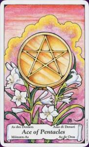 Ace of Pentacles - Beginnings, moving forward, prosperity & abundance