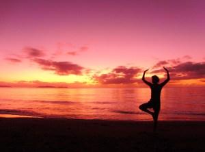 Yoga zonsondergang Australië