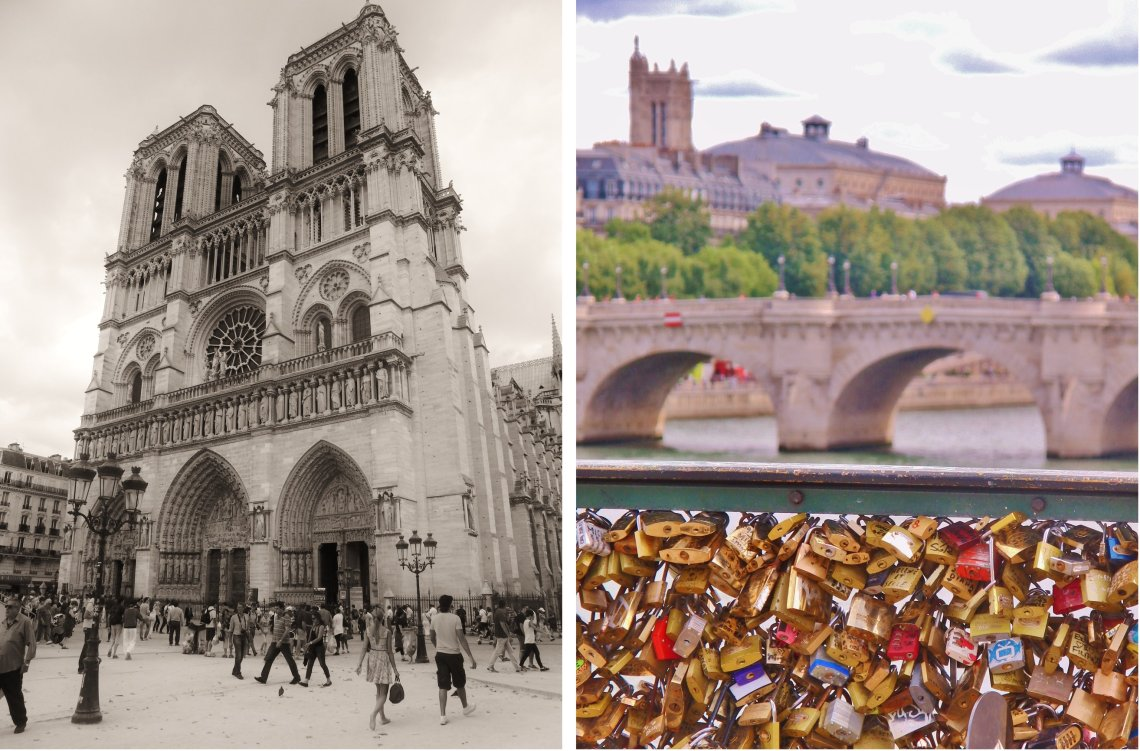 Notre Dame en de sloten op de brug Parijs Frankrijk