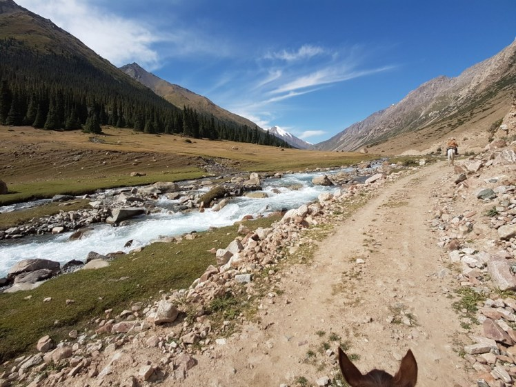 Kirgizië bergen kamperen paard rivier
